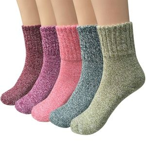 Womens 5 Pairs Vintage Style Thick Crew Socks